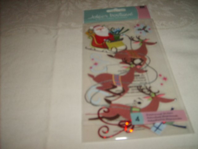 JOLEE'S BOUTIQUE  STICKERS  ( FLYING SANTA  )