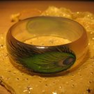 Handpainted Peacock Feather motif acrylic bangle