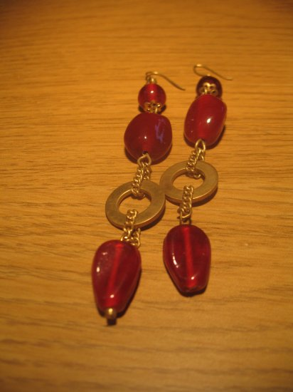 Red stone bead earrings
