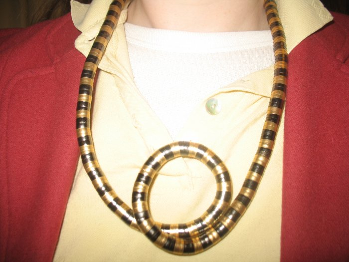 Twist metal necklace in gold and pewter