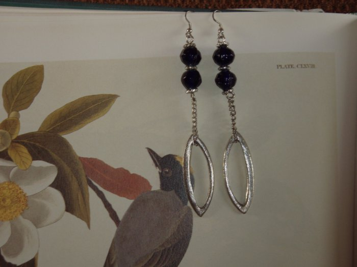 Ellipse and dark blue glass bead earrings