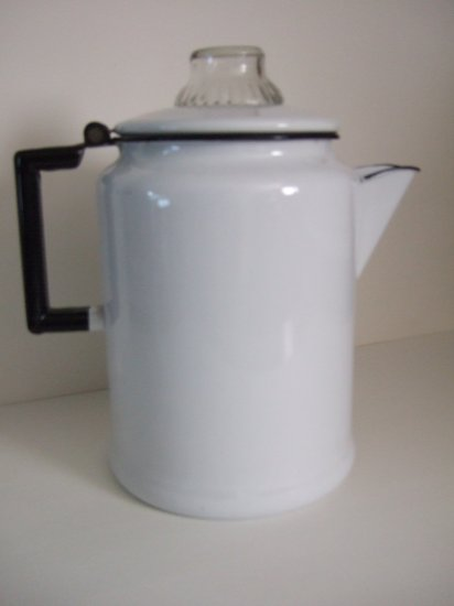 Vintage Large White Coffee Pot