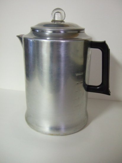 Large Vintage Aluminum Coffee Pot
