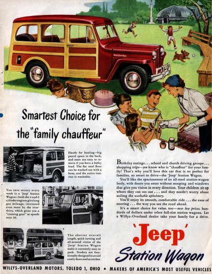 VINTAGE 1949 JEEP STATION WAGON ADVERTISMENT