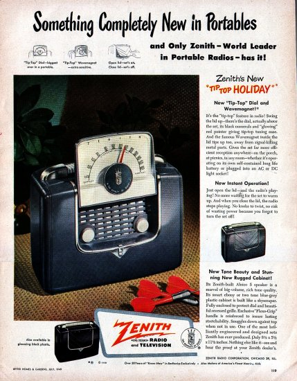 1949 Zenith Tip Top Holiday Portable Radio advertisement