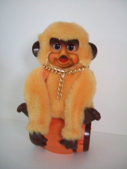 1960's Bongo Benny The Barrel Monkey Battery Operated
