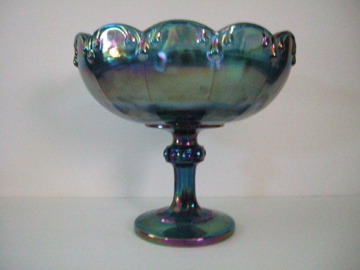 Large Blue Carnival Glass Bowl