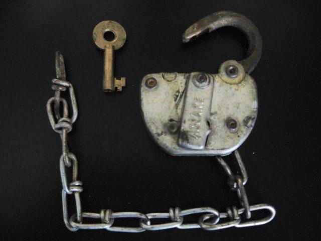 C & 0 Railroad Adlake Steel Switch Lock & Brass Key