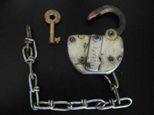 C & 0 Railroad Adlake Steel Switch Lock & Brass Key