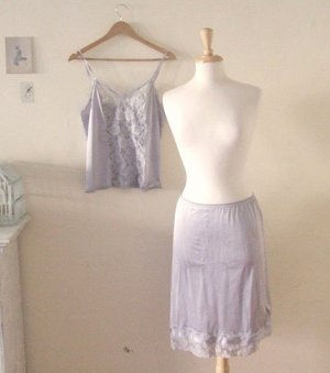 L vintage grey slip &amp; camisole set
