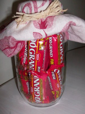 Thanks a Million! Candy Gift Jar with Red Dishtowel & Potholder