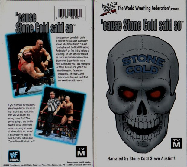 WWF Cause Stone Cold Said So Video SEALED WWE Steve Austin WWF WCW ECW TNA WWE