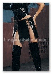 Leg Avenue,Viny panel Lace up Skirt