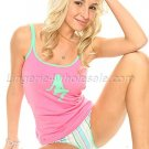 Pajama set,sexy solid color tank top with silhousette print