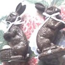 CHOCOLATE rabbit $0 SH easter BUNNY chic egg basket FIGURINE figure w VINTAGE look LOT shabby SET