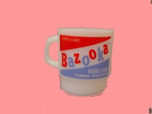 BAZOOKA bubble ANCHOR gum joe HOCKING milk VINTAGE logo glass MUG