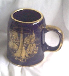 LIMOGES blue gold EIFFEL TOWER france PARIS old cup MUG