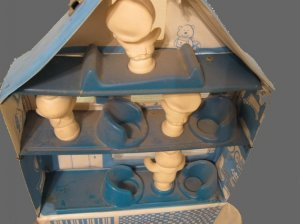 PILLSBURY dough boy PLAY HOUSE old PLAYHOUSE loose VINTAGE playset PLAY puppets? lot SET so DIRTY!