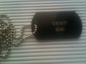 serenity now now! metal black tone dog tag tags chain jewelry lot of 10 necklace