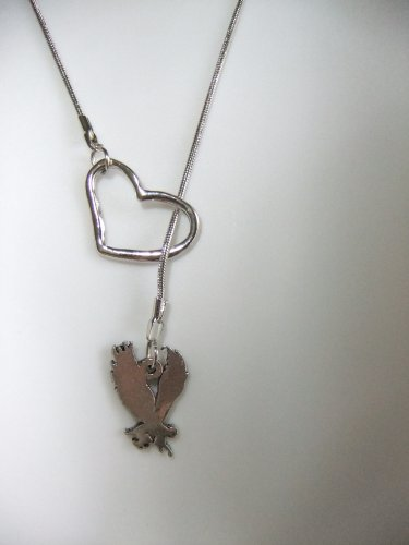 i open heart love wicked winged wing flying monkeys monkey silver tone charm lariat style necklace