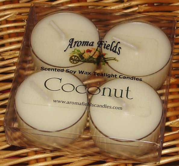 Four Soy Tealights - Coconut Fragrance