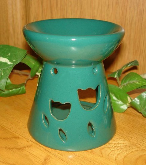 Ceramic Tart Burner - Green With Tulip Design