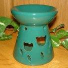 Ceramic Tart Burner - Green With Tulip Design