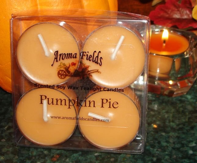 Four Soy Tealight Candles - Pumpkin Pie Holiday Fragrance