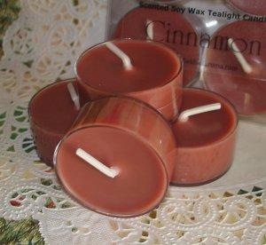 Four Soy Tealight Candles - Cinnamon Holiday Fragrance