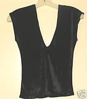 Ladies Vintage 70's Dressy Black Panne Velvet Top size small