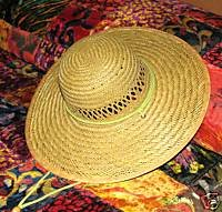 "Ladies Wide Brimmed (4"") Natural Straw Hat with Pink Band"