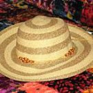 "Ladies Wide Brimmed (3 1/2"") Natural Striped Straw Hat"