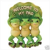 "Wall Plaque - ""Welcome To My Pad"" Frogs: Garden or Home"