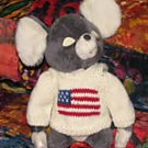 Gray Plush 12 Inch Patriotic Mouse