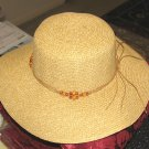Ladies Wide Brimmed Tan Natural Straw Hat