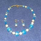Vintage '80's Costume Jewelry Turquoise & White Bead Necklace & Earrings