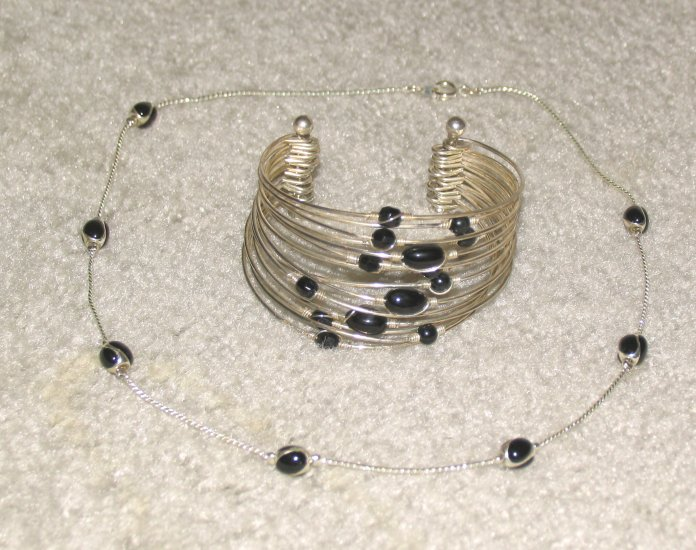 Vintage Costume Jewelry Silvertone & Black Bead Necklace & Bracelet