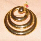 Vintage Costume Jewelry Goldtone Triple Circle Pin
