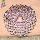 Vintage Costume Jewelry Filigree Silvertone Unique Circle Pin
