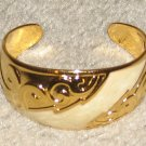 Vintage Costume Jewelry Goldtone & Faux Ivory Cuff Bracelet