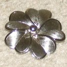 Vintage Costume Jewelry Silvertone Unique Flower Pin
