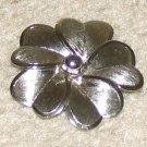 Vintage Costume Jewelry Silvertone Unique Flower Pin