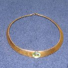 Vintage Unique Costume Jewelry Goldtone Choker w Faux Emerald