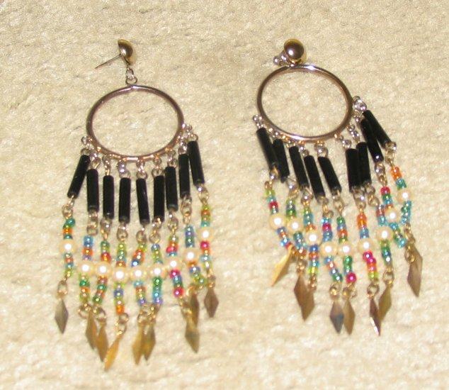 Vintage Unique Costume Jewelry Silvertone  & Bead Dangling Earrings for Pierced Ears