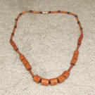 Vintage Costume Jewelry Wood Bead Necklace