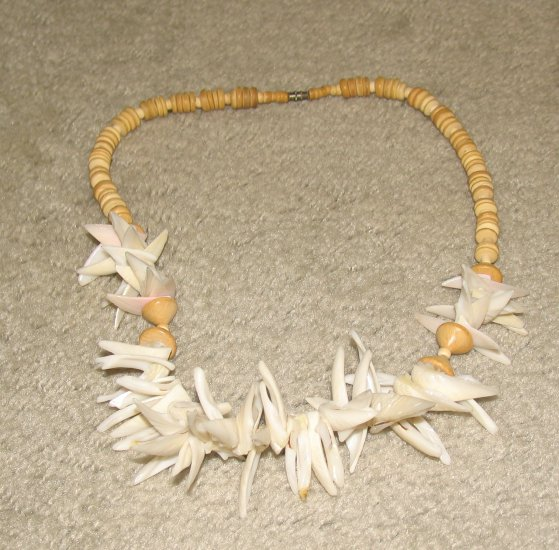 Vintage Unique Costume Jewelry Faux Shark's Tooth & Bead Necklace