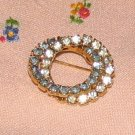 Vintage Costume Jewelry Rhinestone Double Circle Pin