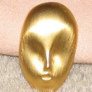 Vintage Costume Jewelry Goldtone Small Mask Pin