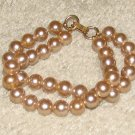 Vintage Costume Jewelry Goldtone Faux Pearl Double Strand Bracelet