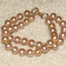 Vintage Costume Jewelry Goldtone Faux Pearl Double Strand Bracelet